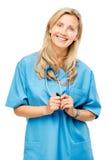 Mûrissez heureux de femme d'infirmière d'isolement sur le fond blanc Photos libres de droits