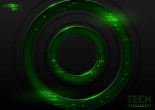 M?rk abstrakt Techbakgrund med gr?na best?ndsdelar royaltyfri illustrationer