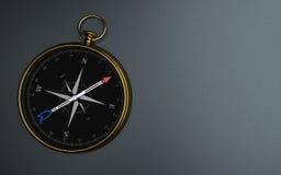 M?rk bakgrund f?r guld- kompass stock illustrationer