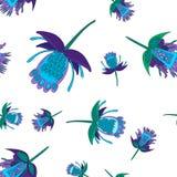 M?rkt - bl?a och gr?na stiliserade fantastiska blommor, s?ml?s vektormodell blommor i folk stil stock illustrationer