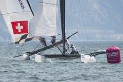 M32 série mediterrânea, uma competição rápida do catamarã da navigação Foto de Stock Royalty Free