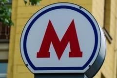 M - símbolo del metro subterráneo Fotografía de archivo libre de regalías