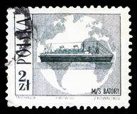 M.S. Batory and globe, Tourist Attractions serie, circa 1966. MOSCOW, RUSSIA - SEPTEMBER 15, 2018: A stamp printed in Poland shows M.S. Batory and globe, Tourist stock image