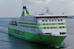 M/S de ster van Tallink komt aan de haven van Tallinn, Estland aan Royalty-vrije Stock Foto's