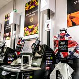 M&S Self Scanning Automated Tills. Supermarkets Have Introduced Self-Scanning Tills to Save On Staff Costs. The British Retail Consortium Has Warned Automatic royalty free stock images