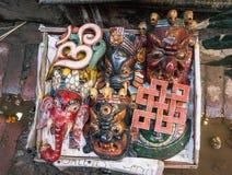 M?scaras tradicionales de Nepal Parada local del arte y del arte en Katmandu fotografía de archivo