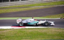 M. Schumacher en jour de pratique en matière de Monza 2012. Image libre de droits