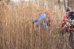 Męscy backpackers chodzi w polu Zdjęcie Stock