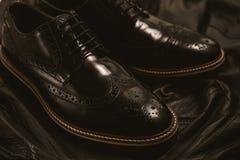 Męscy mody czerni buty Fotografia Royalty Free