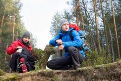 Męscy wycieczkowicze w lesie Fotografia Royalty Free