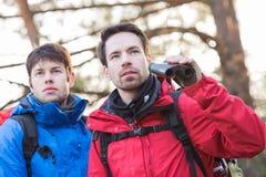 Męscy wycieczkowicze z lornetkami w lesie Obraz Stock
