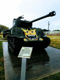 M4 Series Tank. An M4 Series tank decorates the grass outdoors at Fort Hood, Texas, on a rainy day Stock Photo