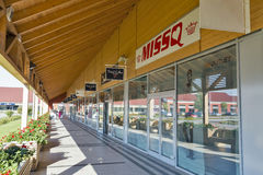 M3 Shopping Mall in Polgar, Hungary. Unrecognized people visit M3 Shopping Mall just by the M3 highway leading to Debrecen and Nyiregyhaza stock photo