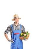 Męska ogrodniczka trzyma kosz z kwiatami Fotografia Stock