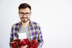 Męska ogrodniczka z kwiatami Zdjęcie Stock