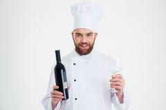 Męska szefa kuchni kucharza mienia butelka wino i wineglass ja Obraz Royalty Free