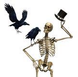 M. Skeleton met Raven Stock Foto's