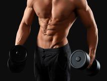 Męski bodybuilder pozuje w studiu Fotografia Royalty Free
