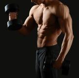 Męski bodybuilder pozuje w studiu Zdjęcia Royalty Free