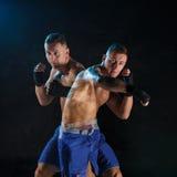 Męski boksera boks w ciemnym studiu Obraz Royalty Free