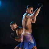 Męski boksera boks w ciemnym studiu Zdjęcie Stock