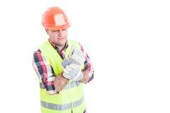 Męski budowniczy ma nadgarstku ból Zdjęcie Royalty Free