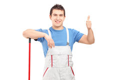 Męski cleaner daje kciukowi up Obraz Stock