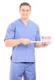 Męski dentysta trzyma toothbrush i denture Zdjęcie Stock