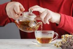 Męski dolewanie Od przejrzystego szklanego teapot nalewa czarnej herbaty w gla Zdjęcie Stock