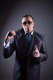 Męski gangster z kijem bejsbolowym Fotografia Royalty Free