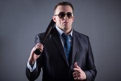 Męski gangster z kijem bejsbolowym Obraz Stock
