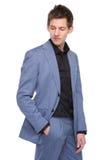 Męski moda model w garniturze Fotografia Royalty Free