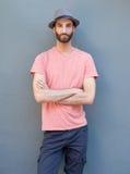 Męski moda model z kapeluszem Obraz Royalty Free