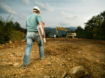 Męski pracownik budowlany na worksite Obrazy Stock