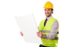 Męski pracownika budowlanego mienia projekt Obraz Stock