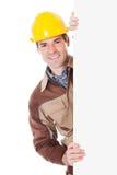 Męski pracownika mienia pustego miejsca plakat Obrazy Stock