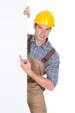 Męski pracownika mienia pustego miejsca plakat Fotografia Stock