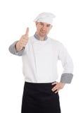 Męski szef kuchni z kciukiem up Zdjęcie Stock