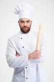 Męski szefa kuchni kucharz trzyma tocznej szpilki Obraz Royalty Free
