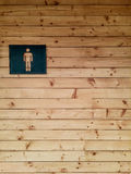 Męski toaleta znak na drewnianym Zdjęcia Stock