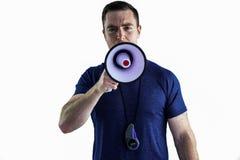 Męski trener wrzeszczy przez megafonu Fotografia Stock
