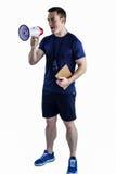 Męski trener wrzeszczy przez megafonu Obraz Royalty Free