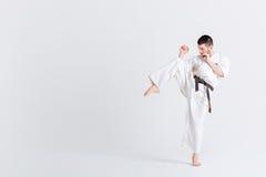 Męski wojownik w kimonie Fotografia Stock