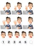Męskie operatora i laptopu seansu liczby z palcami ilustracja wektor