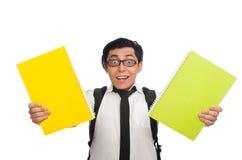 M?skiego ucznia mienia notatki odizolowywa? na bielu zdjęcie stock