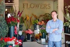 Męskiej Kwiaciarni trwanie kwiatu sklep Fotografia Stock
