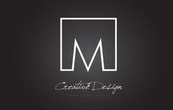 M Square Frame Letter Logo Design avec des couleurs noires et blanches Images stock