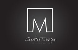 M Square Frame Letter Logo Design mit Schwarzweiss-Farben Stockbilder