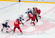 M. St. Pierre (93) and A. Nikulin (36) on face-off Stock Photos
