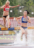 3000 m Steeplechase Woman Athlete Stock Photo